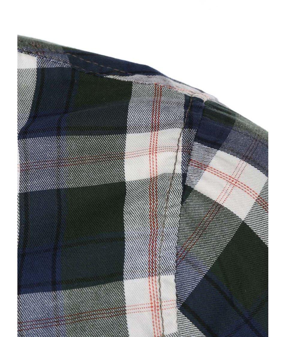 Šedo-zelená kostkovaná košile s modrými a červenými pruhy Blend