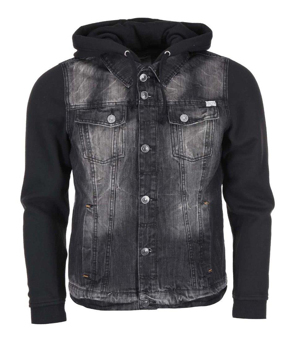 Černá džínová bunda s kapucí Blend