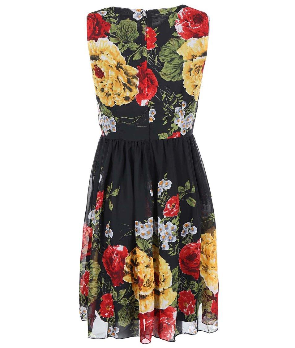 Černé šaty s barevnými květy Apricot