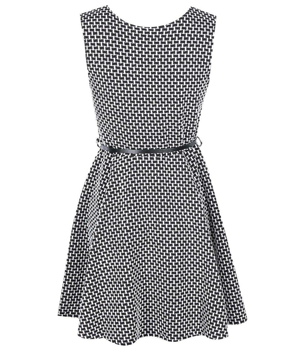 Bílo-černé vzorované šaty s páskem Apricot