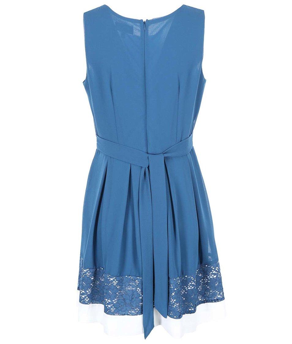 Tyrkysové šaty s krajkou a bílým lemem Apricot