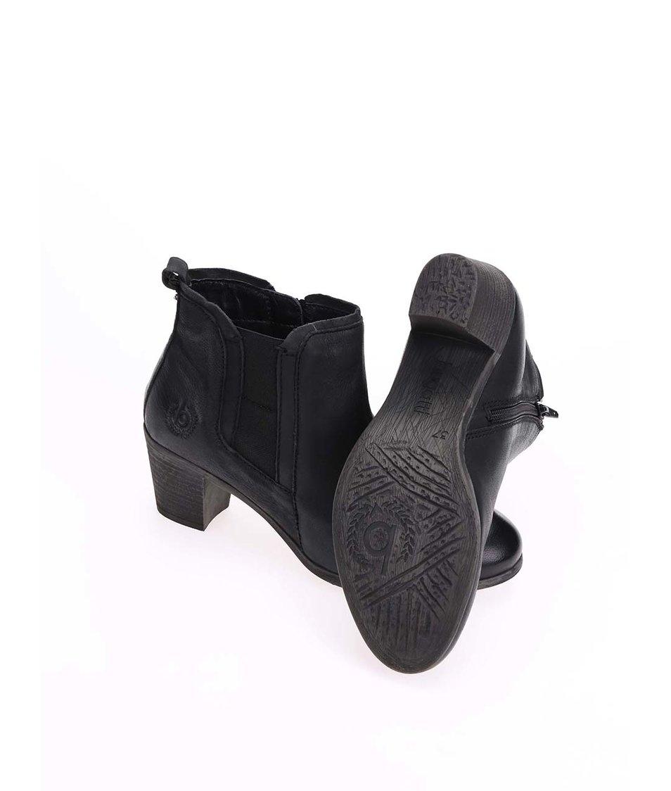 Černé kožené kotníkové boty na podpatku bugatti Marlis