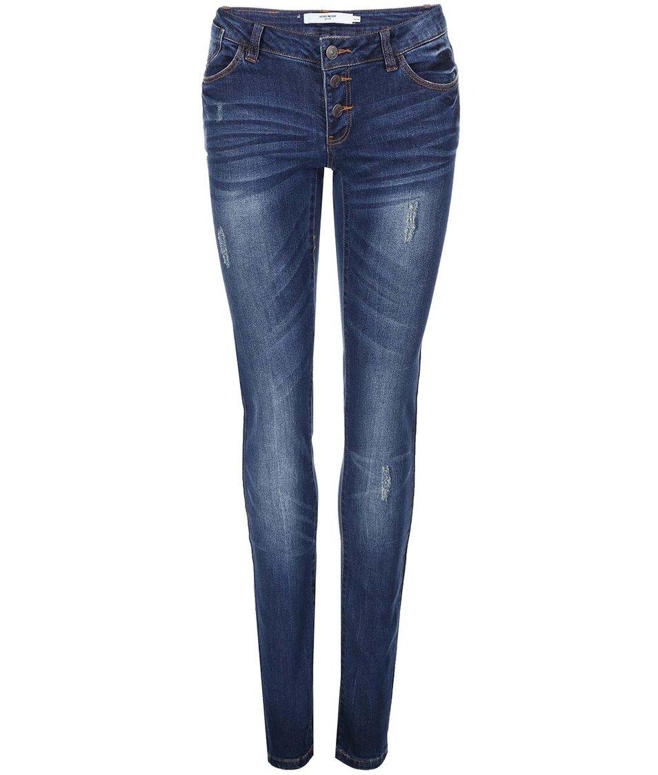 Tmavě modré slim džíny s nízkým pasem Vero Moda One