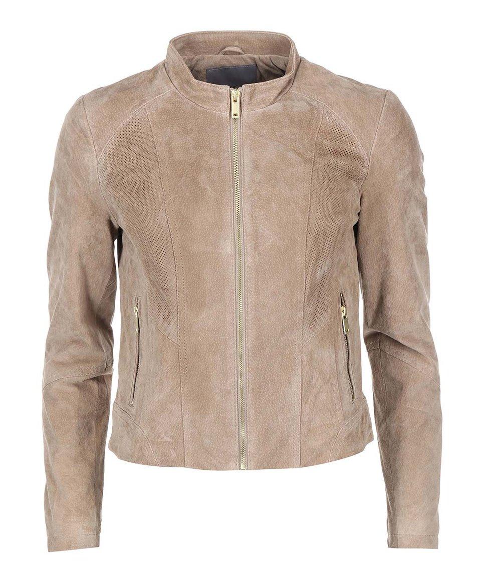 Hnědá kožená bunda Vero Moda Sharon