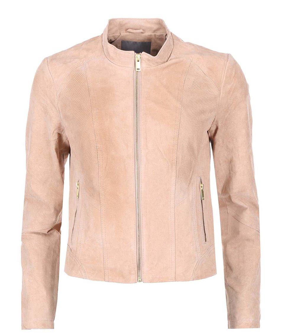 Světle růžová kožená bunda Vero Moda Sharon