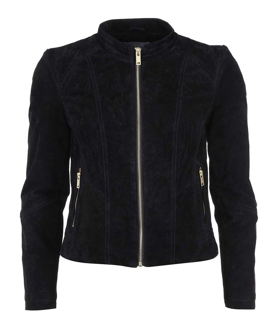 Černá kožená bunda Vero Moda Sharon