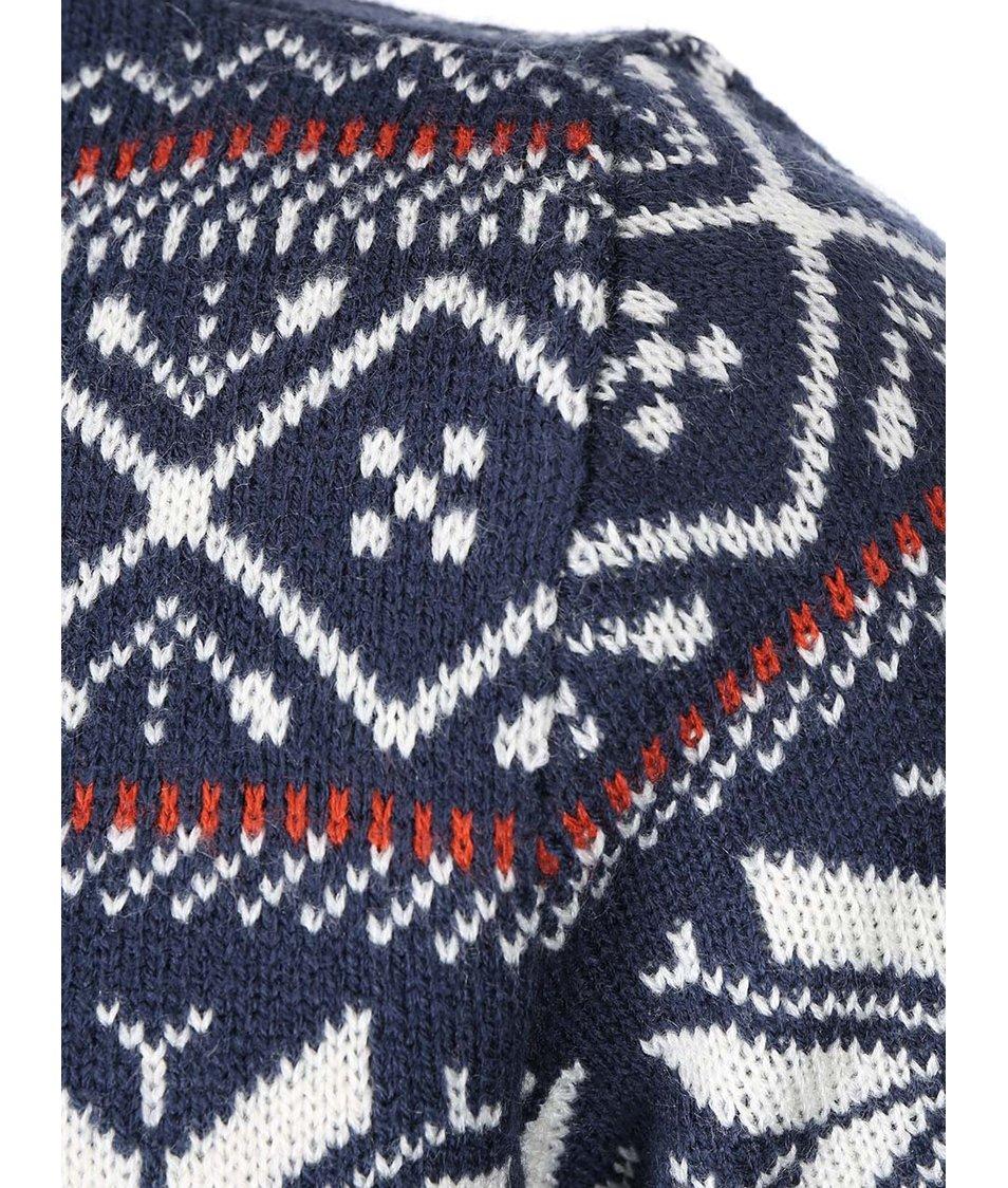 Tmavě modrý vzorovaný svetr s límcem Blend