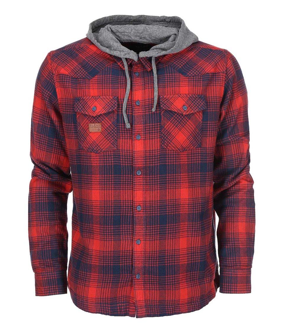 Modro-červená kostkovaná košile s kapucí Blend