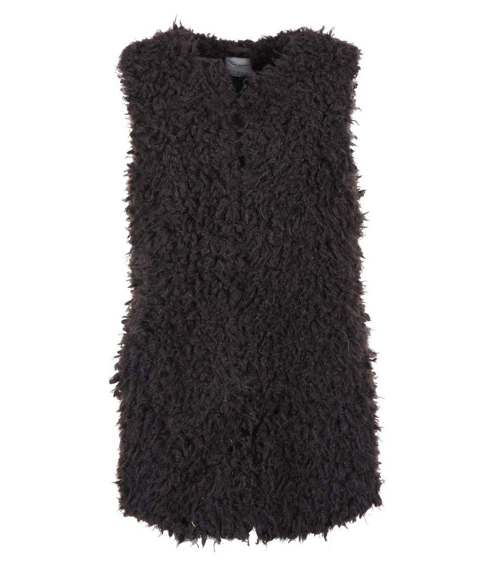 Tmavě hnědá delší vesta Vero Moda Fuzzy