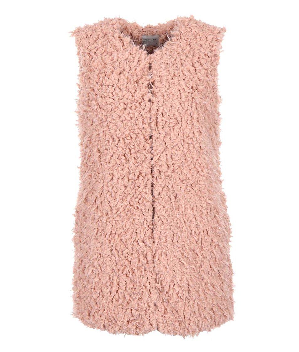 Růžová delší vesta Vero Moda Fuzzy
