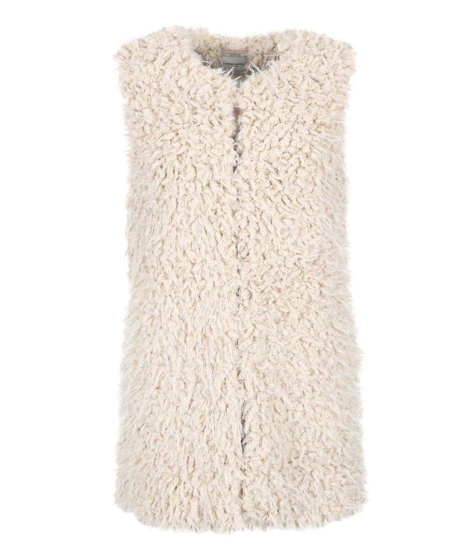 Béžová delší vesta Vero Moda Fuzzy