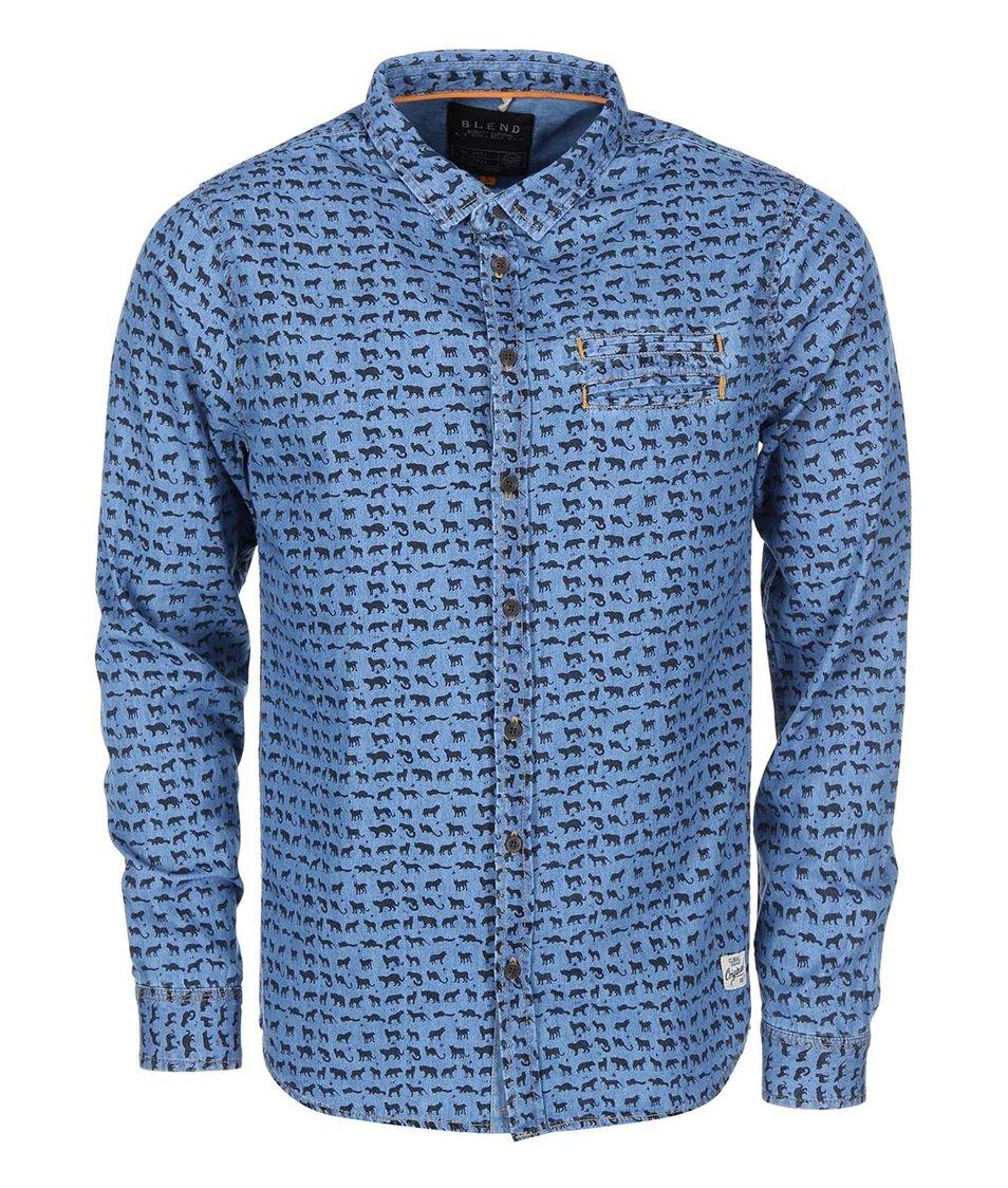 Modrá košile se vzorem zvířat Blend