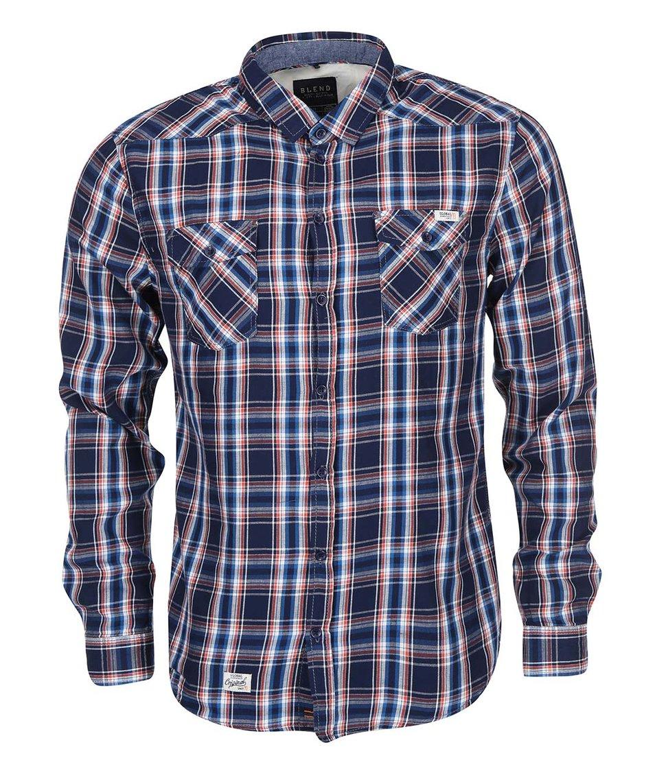 Šedo-modrá kostkovaná košile s červenými pruhy Blend