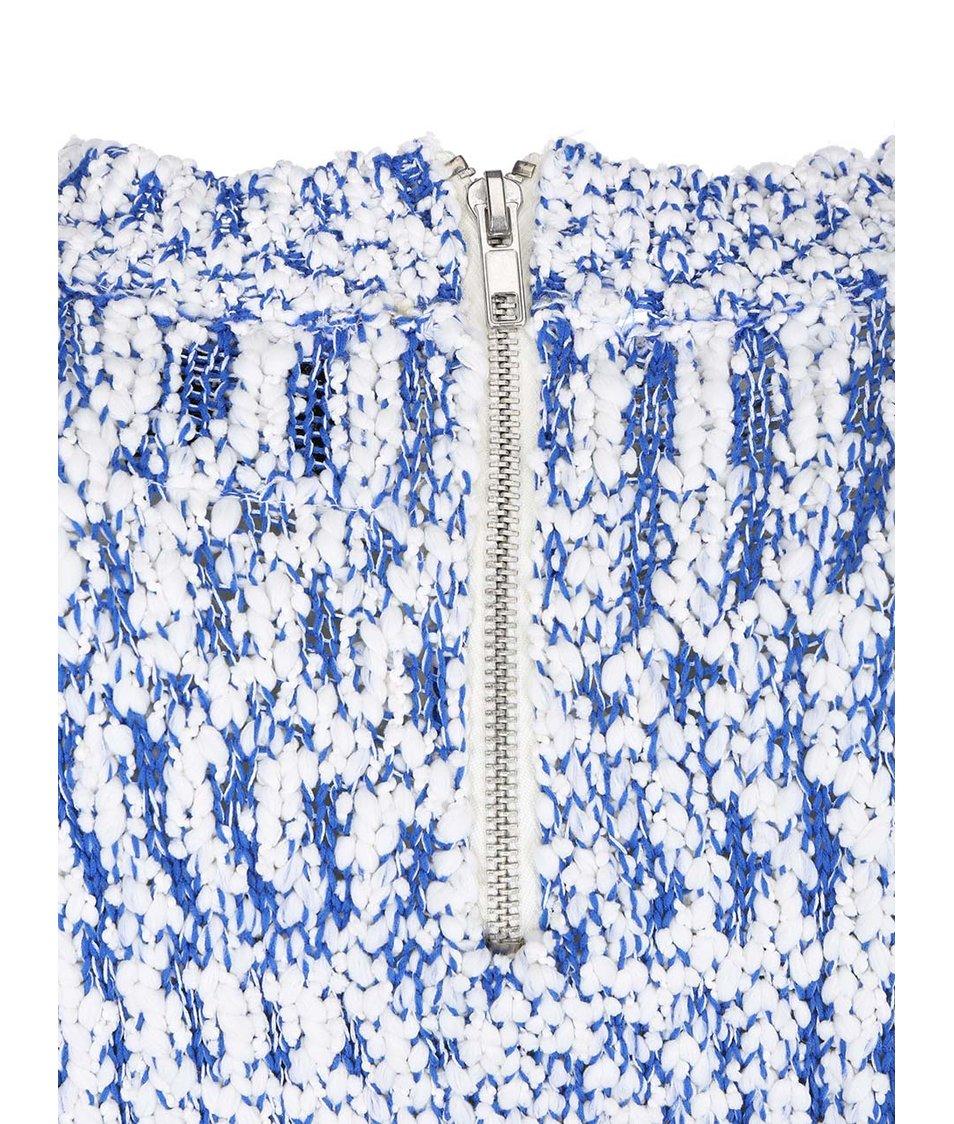 Modro-bílý svetr se zipem Vero Moda Kimperly