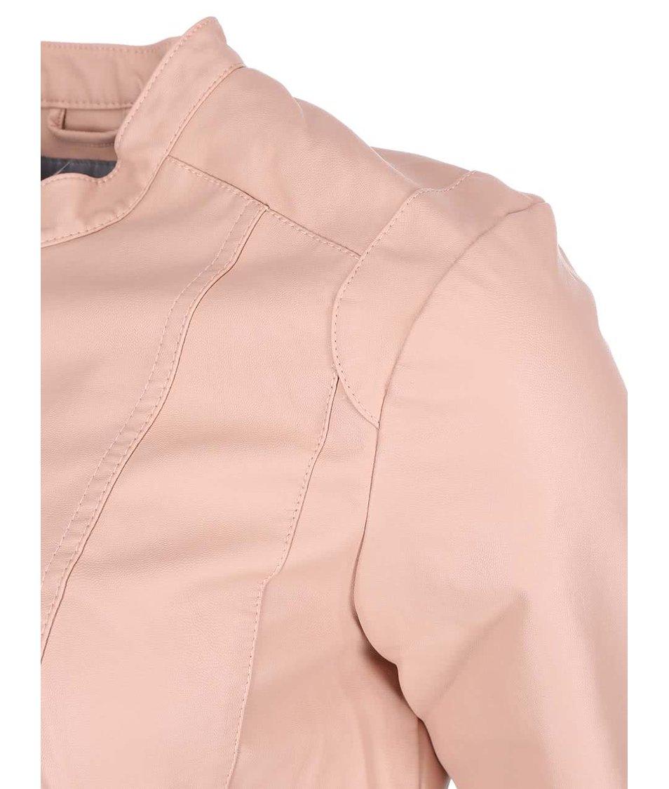 Růžová koženková bunda Vero Moda Student