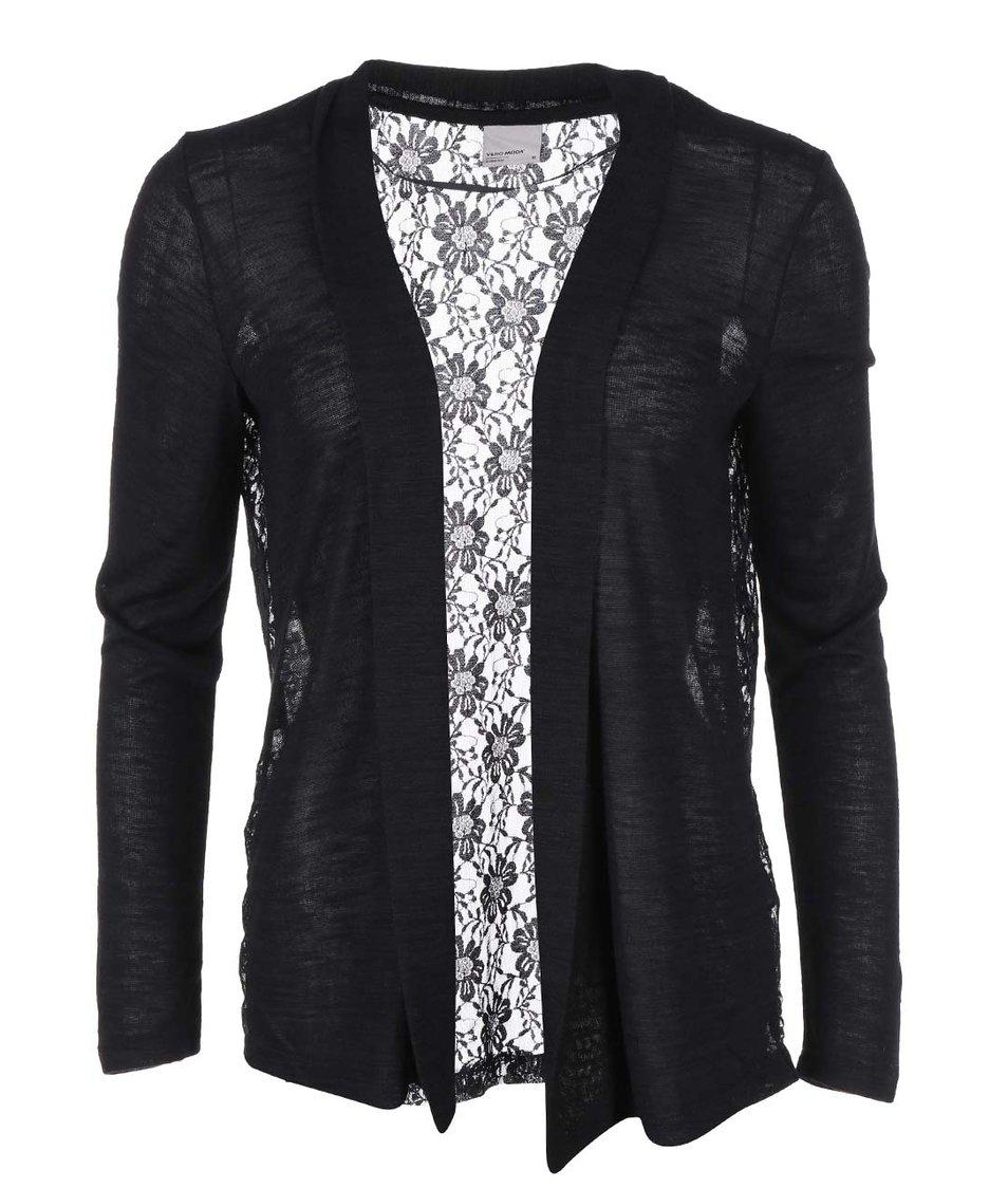 Černý cardigan s krajkovými zády Vero Moda Sabrina