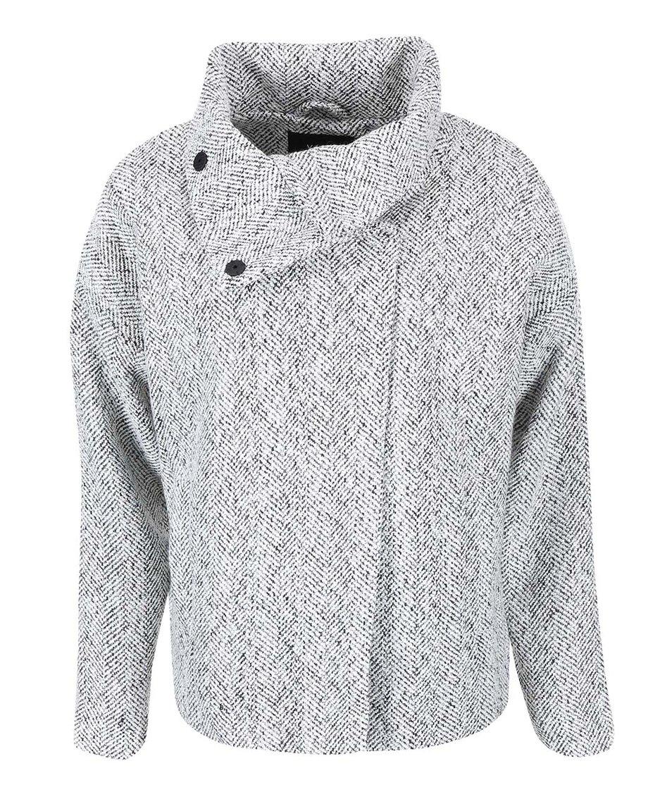 Šedý kratší kabát  s vysokým límcem VILA Lie