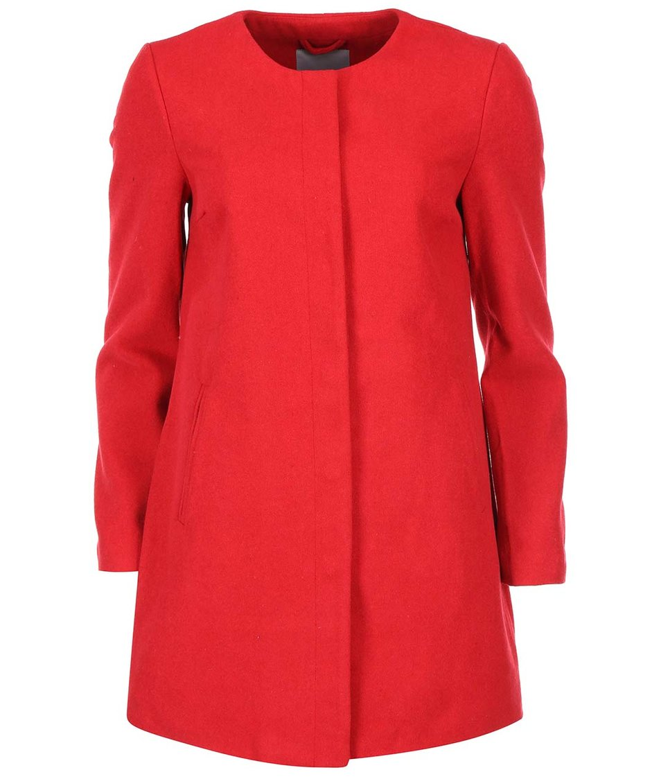 Červený delší kabát Vero Moda Louise Daisy