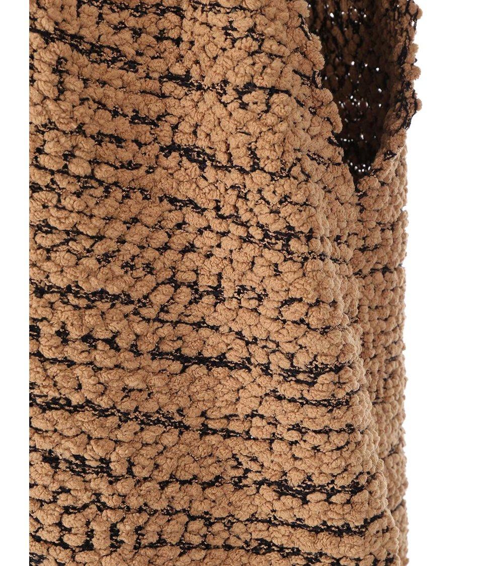 Hnědá pletená vesta s kapucí Noisy May Serane