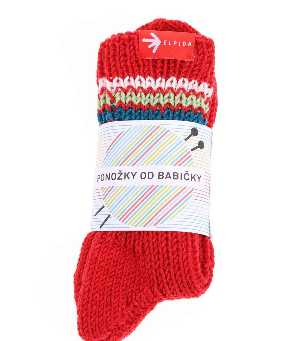 """Dobré"" červené pletené ponožky od babičky Elpida"