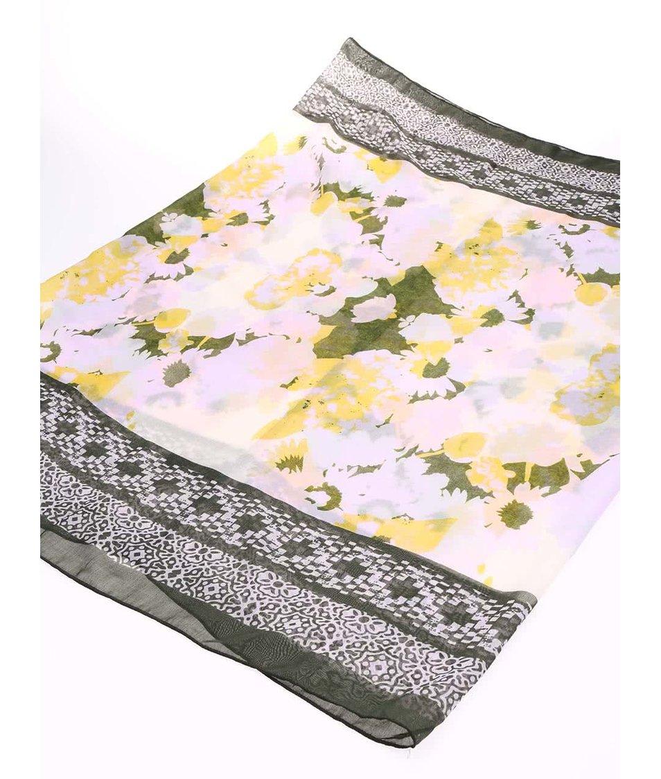 Žluto-zelený květovaný dutý šátek Pieces Rabi