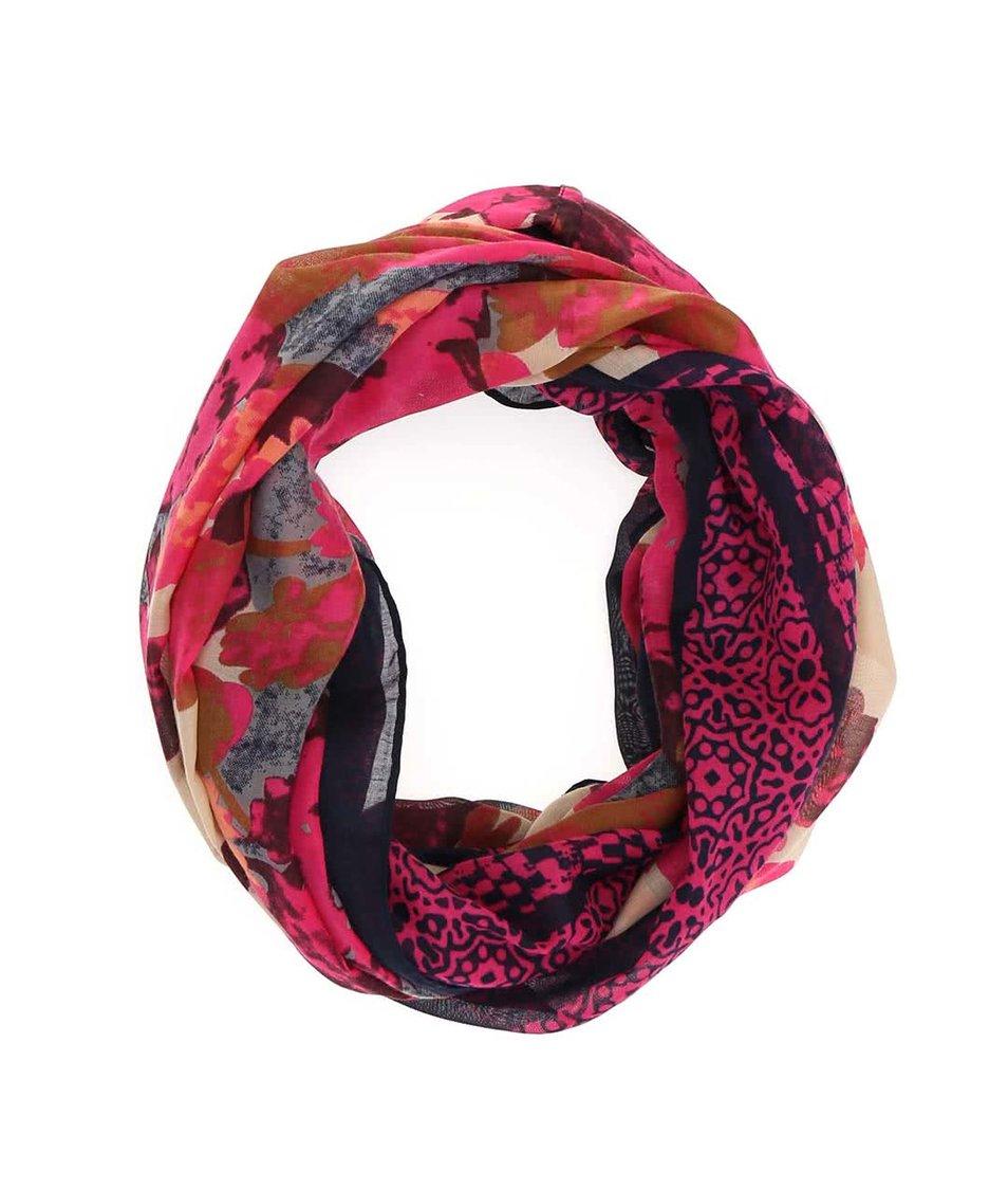 Modro-růžový květovaný dutý šátek Pieces Rabi