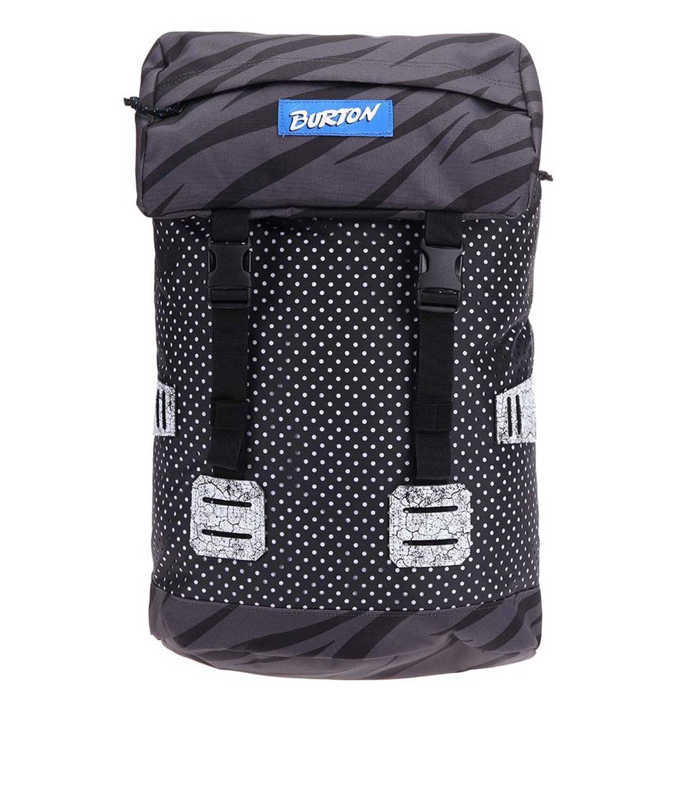 Černý unisex batoh s puntíky a zebrovaným vzorem Burton Tinder
