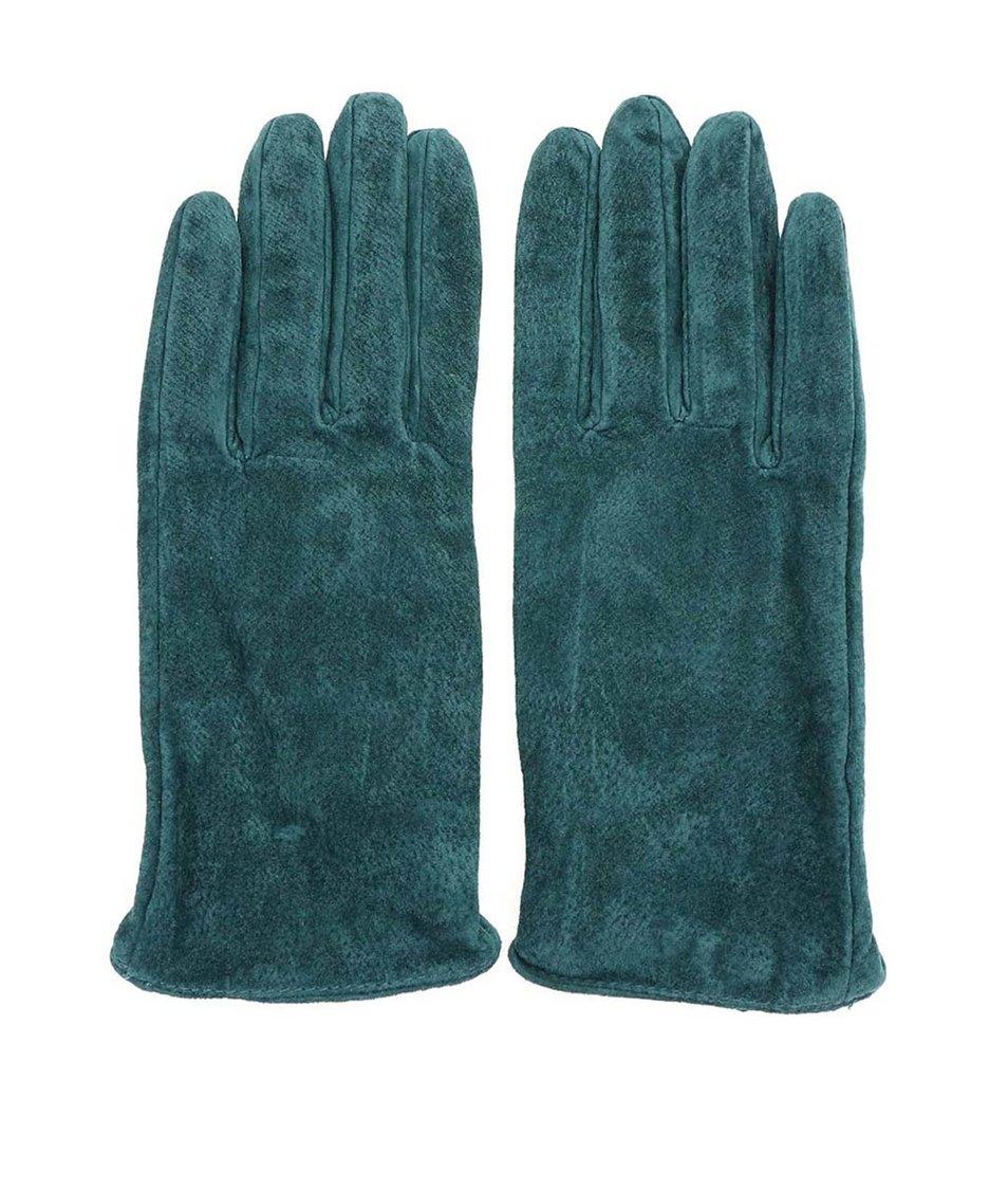 Modrozelené kožené rukavice Pieces Comet