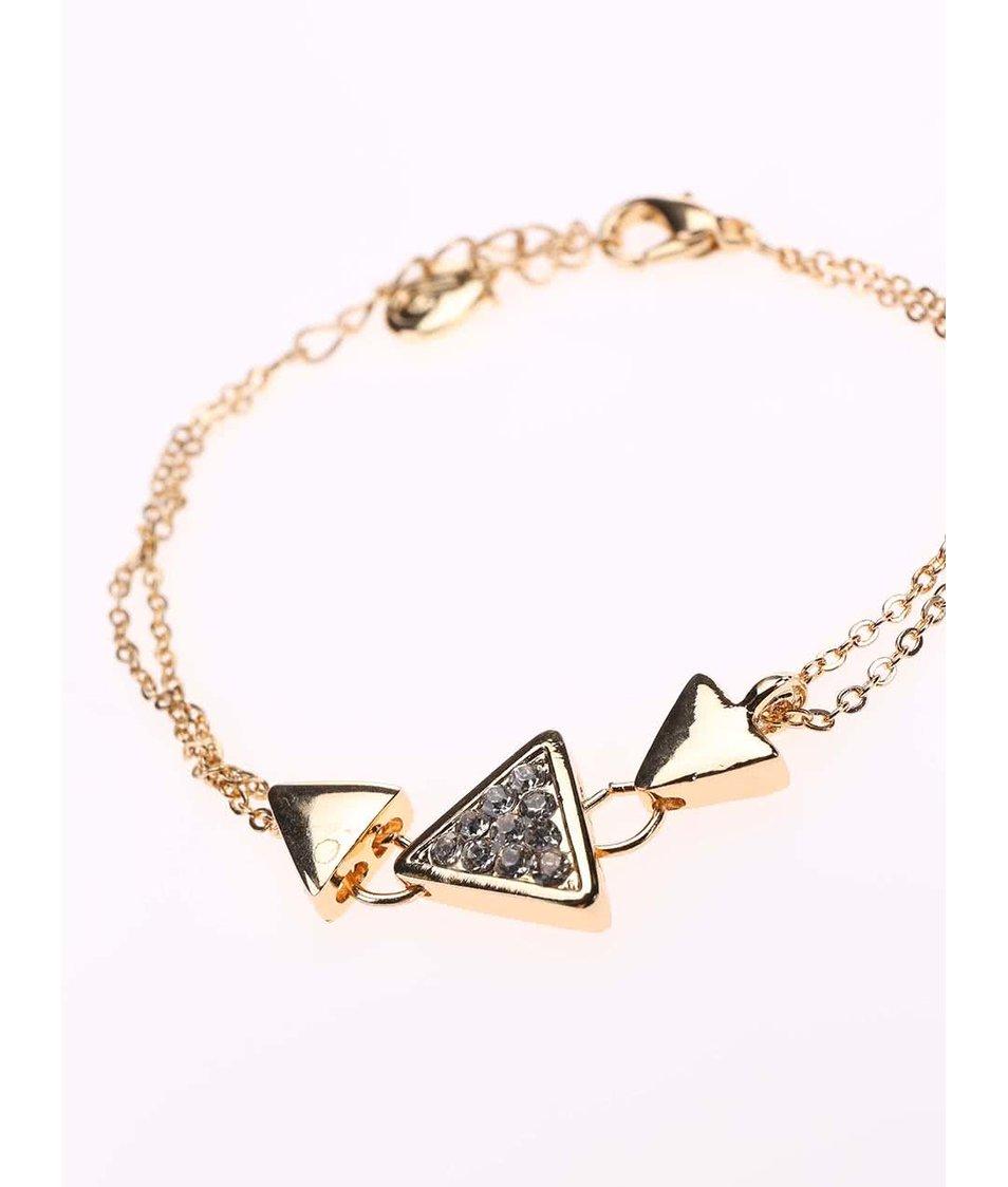 Náramek ve zlaté barvě s kamínky Designsix Swan