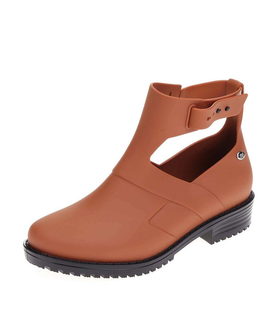 Hnědé otevřené kotníkové boty Mel Open Boot
