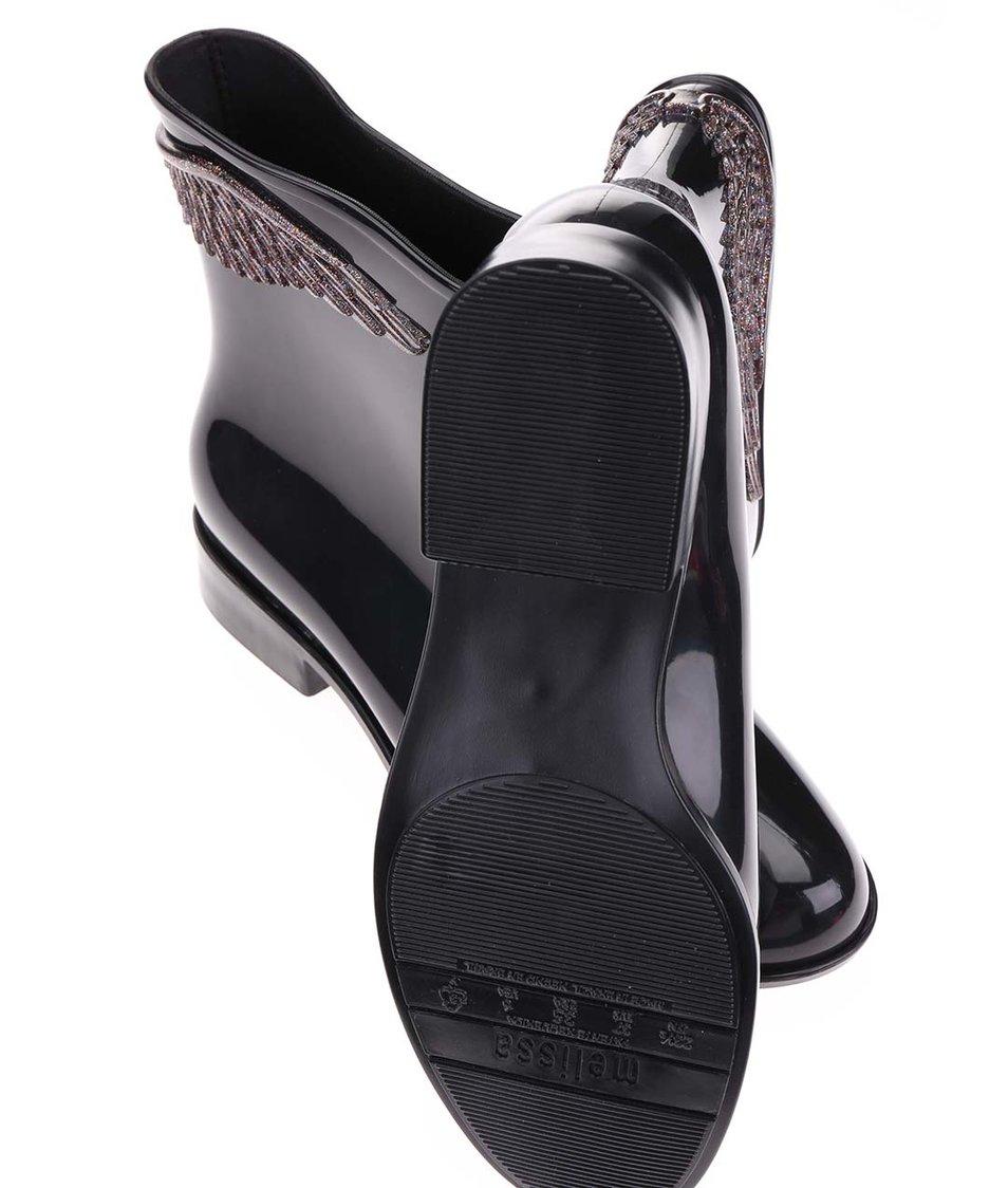 Černé nízké holínky s křídly Mel Goji Berry II