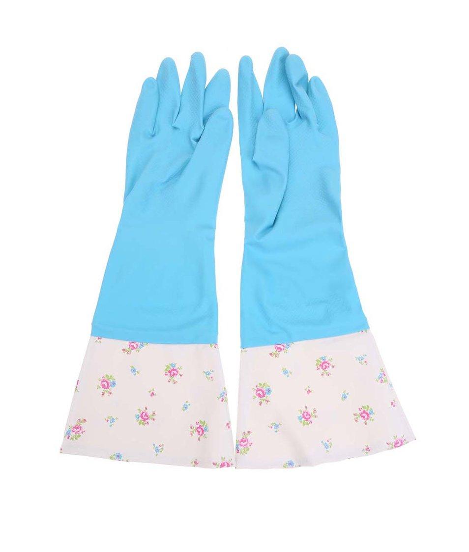Krémovo-modré retro gumové rukavice s květy Rex Retro Blue Roses