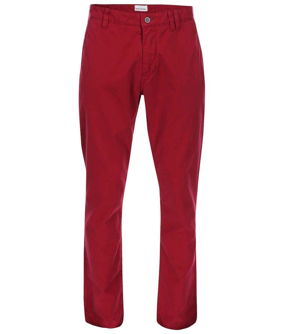 Vínové chino kalhoty Shine Original