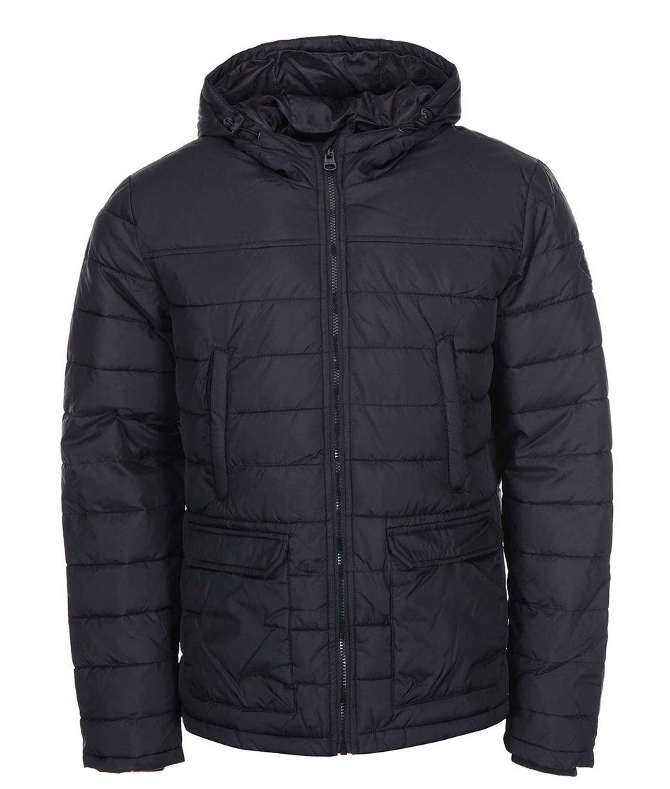 Černá prošívná bunda s kapucí Shine Original