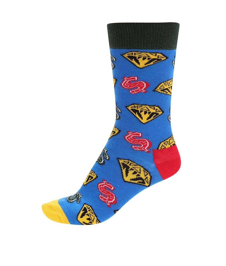 Modré unisex ponožky se vzorem Happy Socks