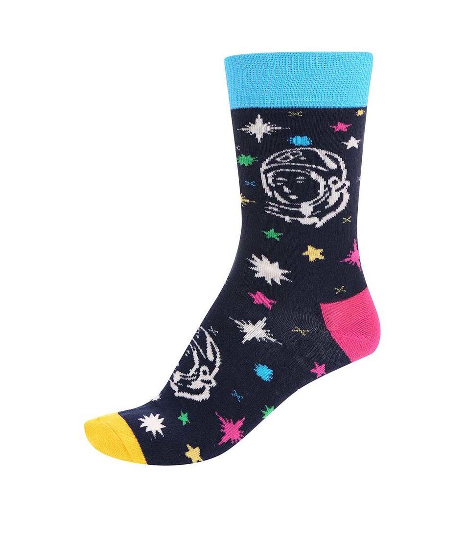 Modré unisex ponožky s barevným vzorem Happy Socks