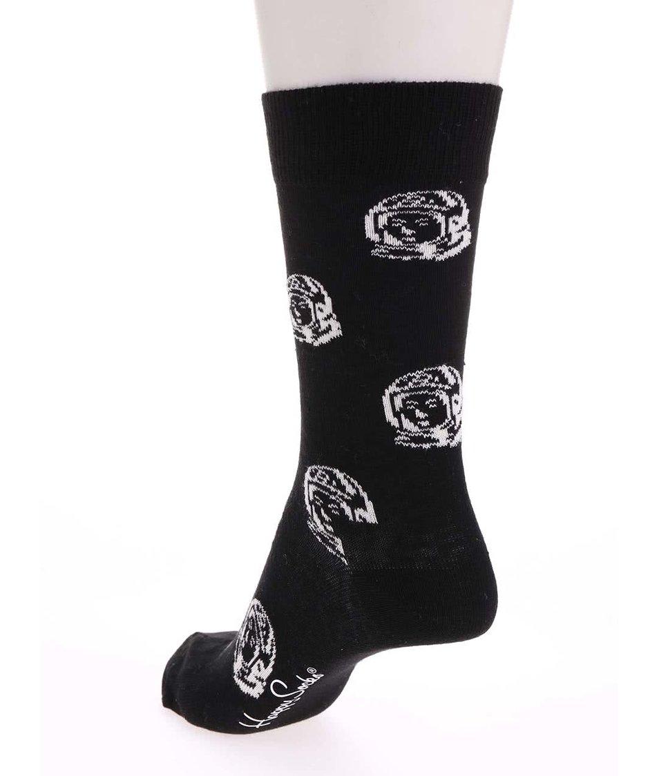 Černé unisex ponožky se vzorem Happy Socks