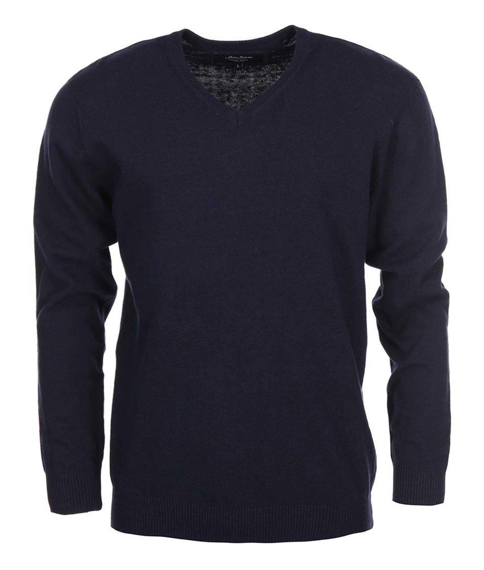 Tmavě modrý svetr s výstřihem do V Shine Original