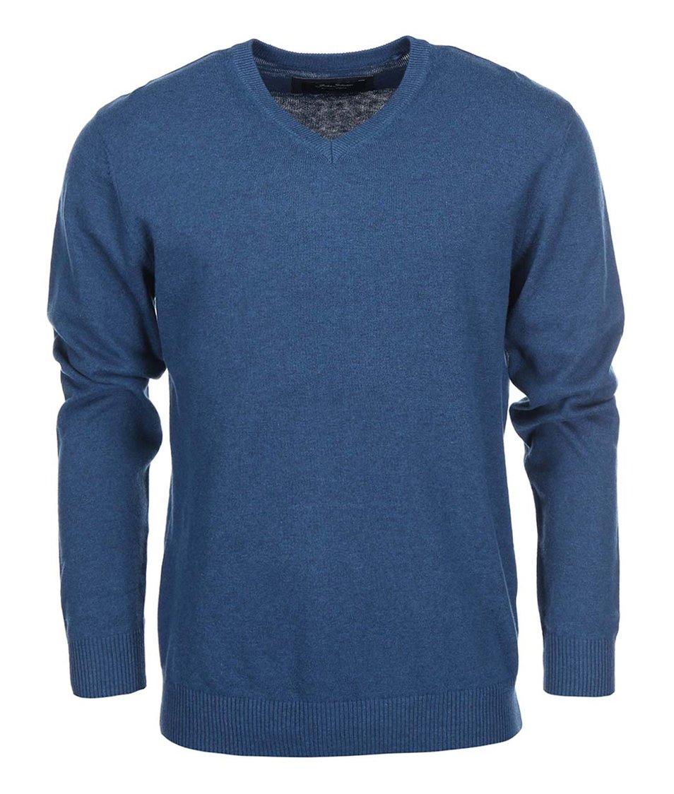 Modrý svetr s výstřihem do V Shine Original