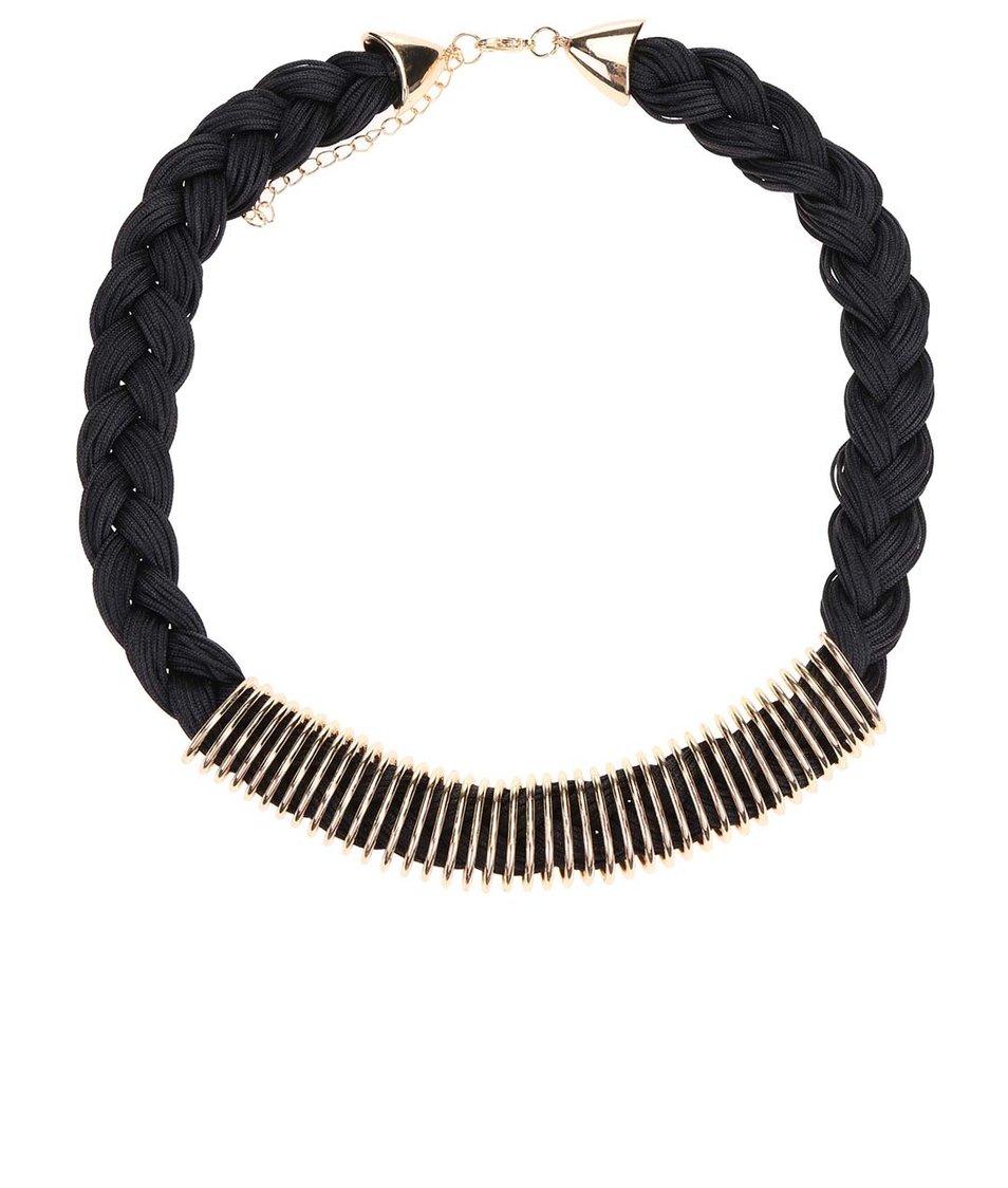 Černý proplétaný náhrdelník s detaily ve zlaté barvě Madonna Tina