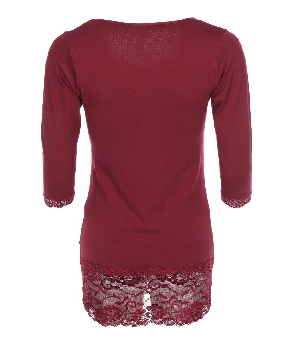 Vínové tričko s krajkovými lemy Haily´s Samantha