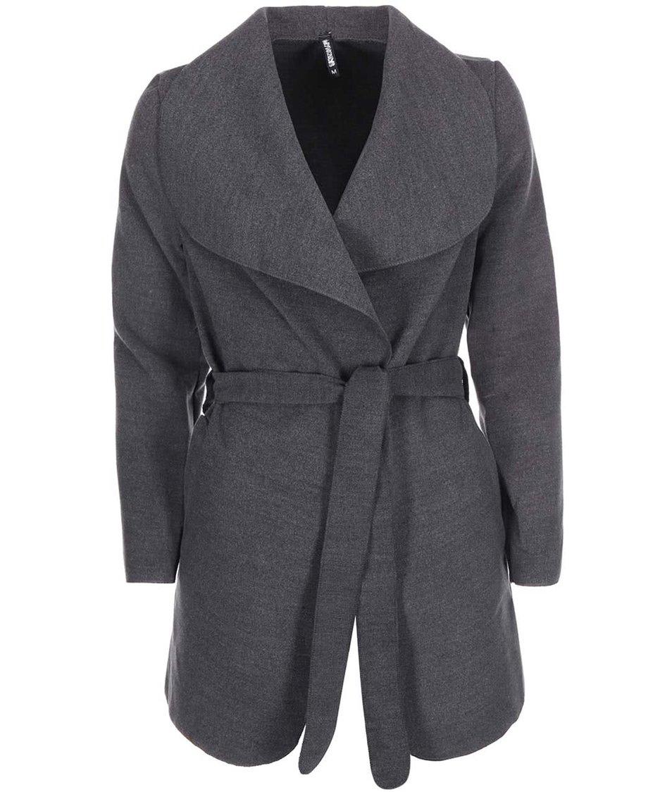 Tmavě šedý kabát na zavazování Haily´s Silvie