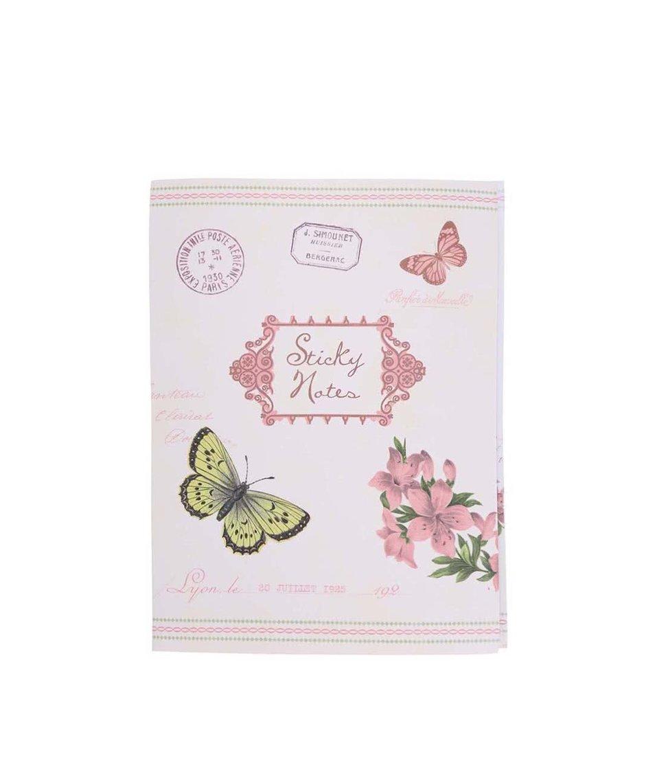 Sada lepících lístečků s květy a motýly Rex Botanical