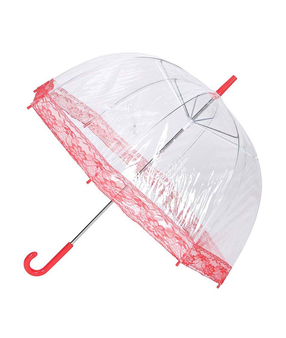 Průhledný deštník s červenou krajkou Lindy Lou Lacedome