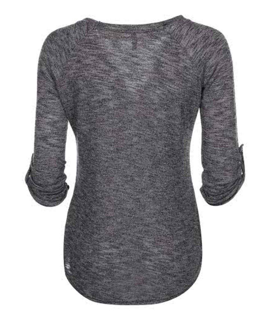 Šedo-černé žíhané tričko s dlouhým rukávem Haily´s Moni
