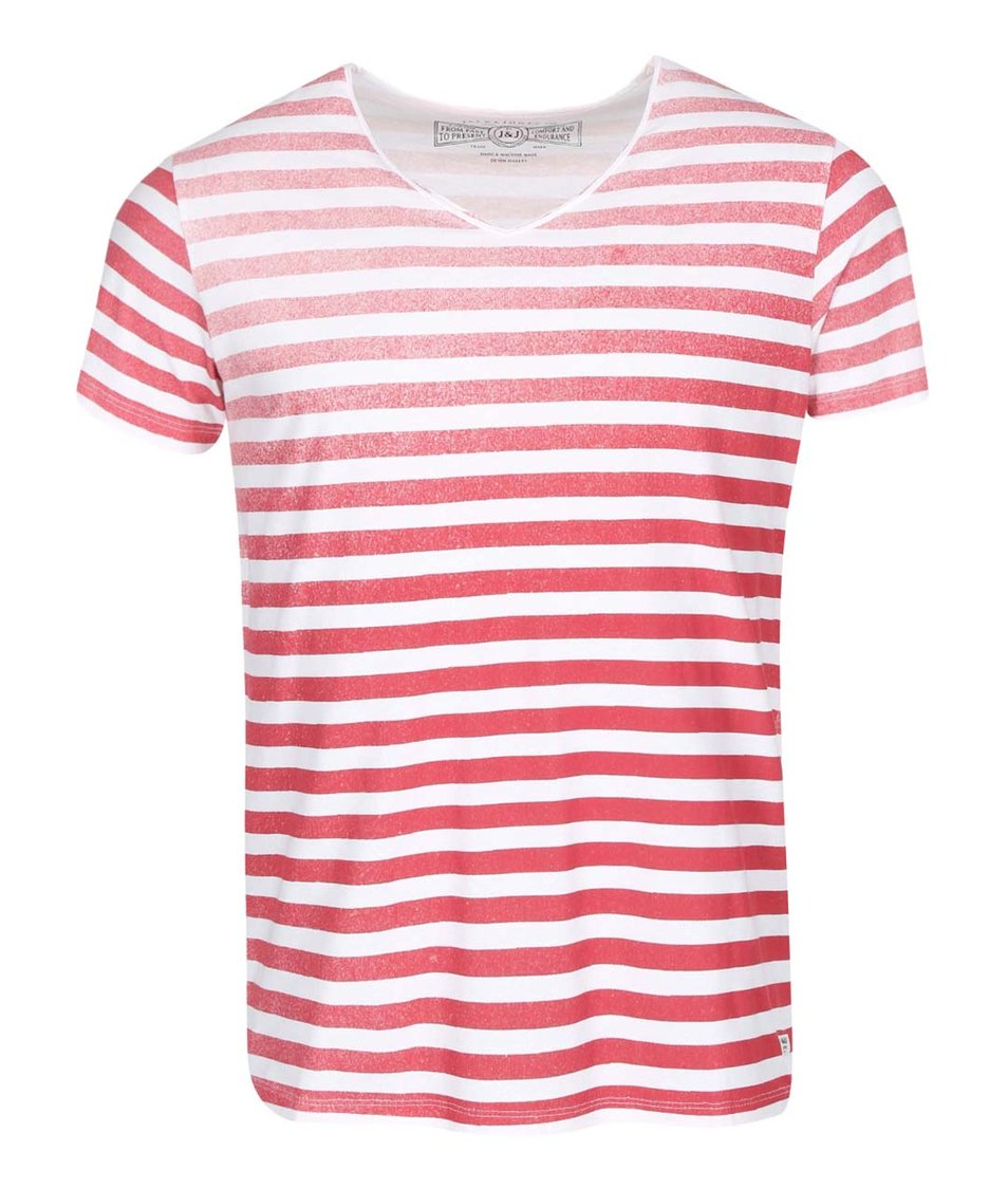 Bílé triko s červenými pruhy Jack & Jones Wolf