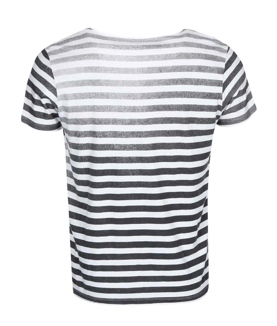 Bílé triko s černými pruhy Jack & Jones Wolf