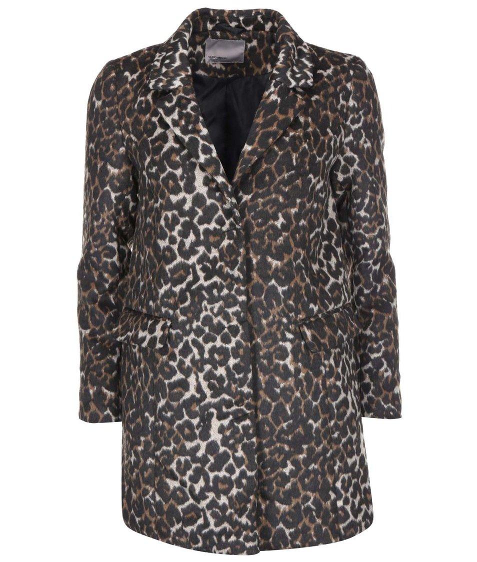 Hnědý kabát s leopardím vzorem Vero Moda City