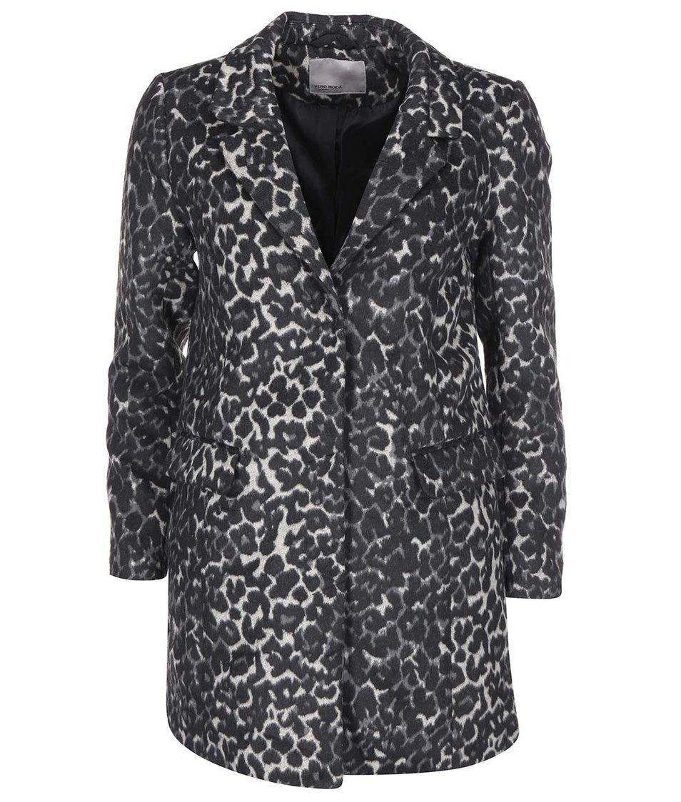Šedý kabát s leopardím vzorem Vero Moda City