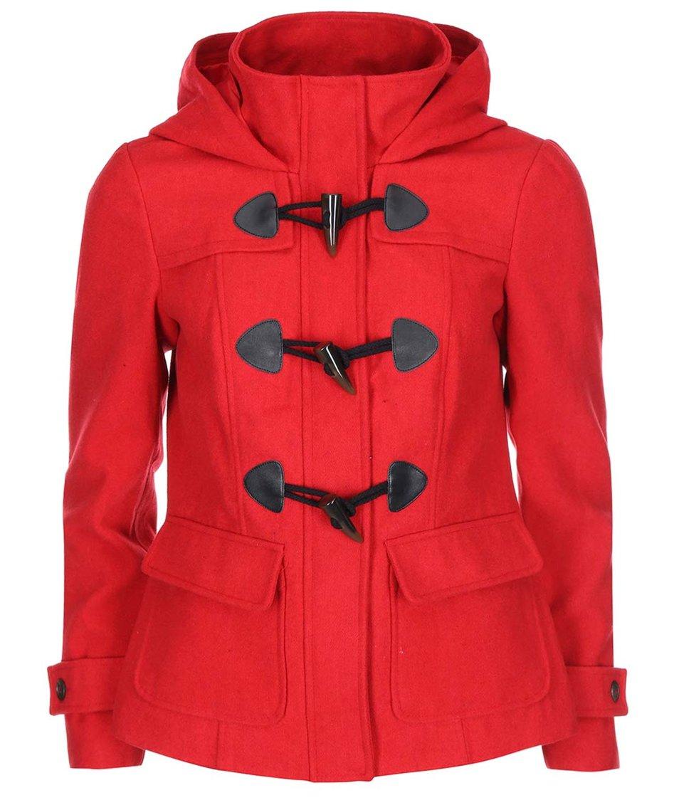 Červený kratší kabát s kapucí Vero Moda Mella